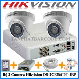 Bộ 2 camera Hikvision DS-2CE56C0T-IRP cho cửa hàng