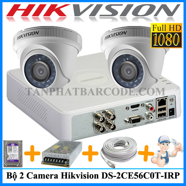 Lắp đặt bộ 2 camera Hik DS-2CE56D0T-IRP