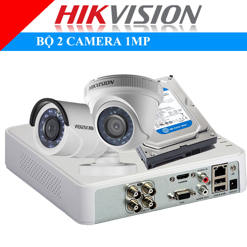 Lắp đặt trọn bộ 2 camera 1Mp Hikvison