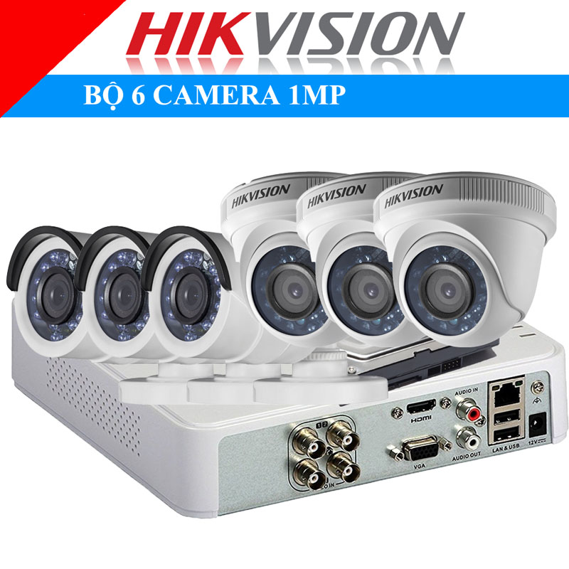 Lắp đặt trọn bộ 6 camera 1Mp Hikvison